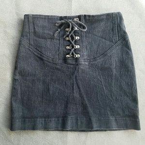 Vintage Dresses & Skirts - Vintage SHOX Black Lace Up Skirt