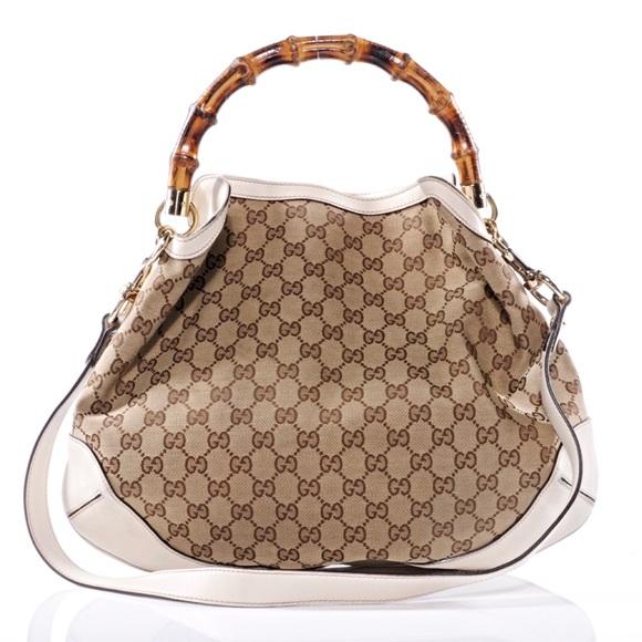 df103cbc2ae Gucci Handbags - GUCCI Ebony Logo Peggy Hobo Bamboo