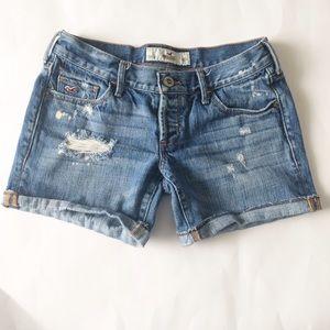 Hollister Pants - HOLLISTER Destroyed roll up hem Jean Shorts