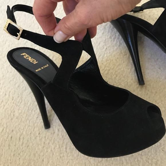 74ec6d39445 Fendi peep toe black suede slingback pump US 6