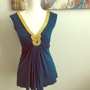 Sky Tops - Gold and Teal Diamond 💎 Embellished neckline