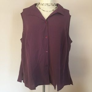 Notations Tops - Notations Woman Plus Purple Sleeveless Blouse 1x