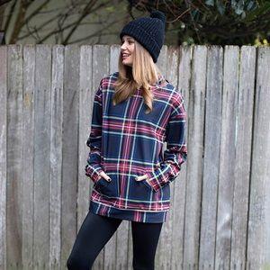 Blackmilk Sweaters - Tartan Old School Hoodie Black Milk Unisex