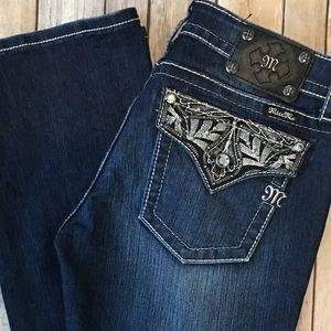 Miss Me Denim - Miss Me Jeans Boot 30 x 34 Long Dark Flap Pockets
