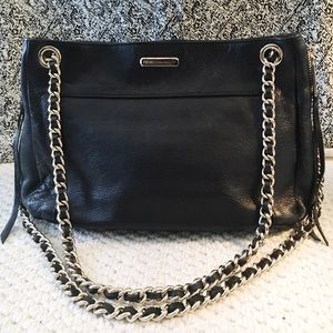 Black Leather Gold Chained Rebecca Minkoff Purse