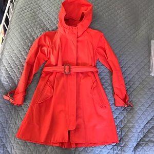 J.Crew Orange Trench Coat with Hood