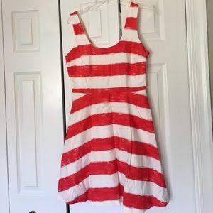 BB Dakota red and white striped dress