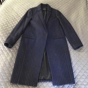 J.Crew Wool Navy Stripe Overcoat