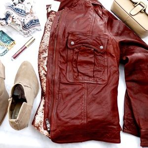 Hinge Jackets & Blazers - Raisin Leather Jacket