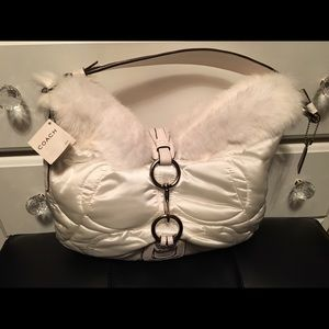 NWT Coach LG Hobo White leather/fur/quilted fabric