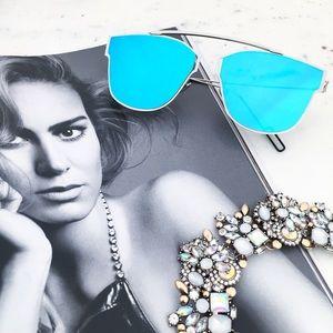 """Erica Rose Accessories - """"Camilla"""" Sunglasses    Silver & Light Blue Mirror"""