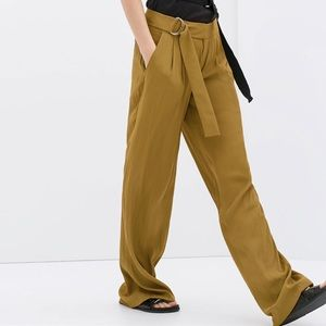 ZARA Woman Belted Brown Palazzo Trousers