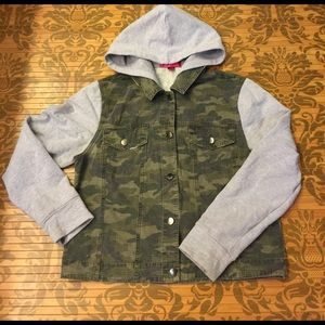 Tinseltown Jackets & Blazers - Hooded Sweatshirt Button Up Camouflage Jacket
