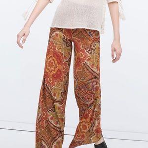 ZARA Woman Orange Paisley Wide Leg Trousers