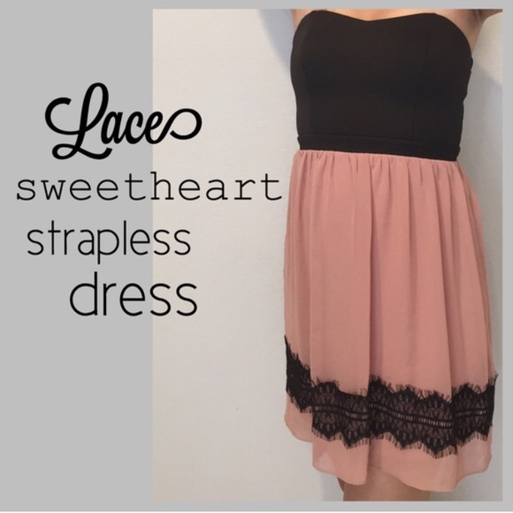 Pink and Black Lace Sweetheart Dress