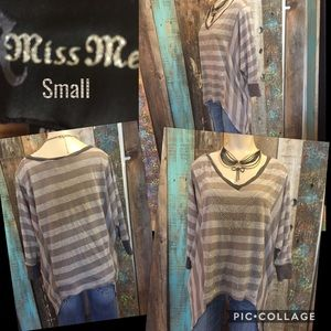 Miss Me size Small gray striped v neck t-shirt