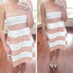 LOFT Dresses & Skirts - NEW Ann Taylor Loft Blush & Ivory Eyelet Striped