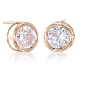 Jewelry - 6mm Bazel Set Solid 14K  Gold CZ Stud Earrings