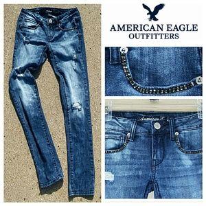 American Eagle Outfitters Denim - AEO Shredded Skinny Jeans