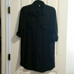 ROMWE Dresses & Skirts - Collared black Button up blouse dress