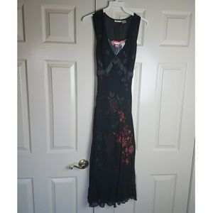 Beautiful Black Sheer Overlay Layered Dress Floral
