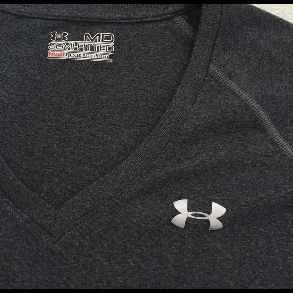 Under Armour Tops - under armour semi-fitted vneck grey tee size M