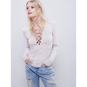 Free People Lucky Lace Up Top