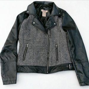 Paris Blues Jackets & Blazers - Vegan Leather and Wool Moto Motorcycle Jacket Coat
