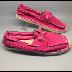 Sperry Topsider 10M pink suede boat espadrille
