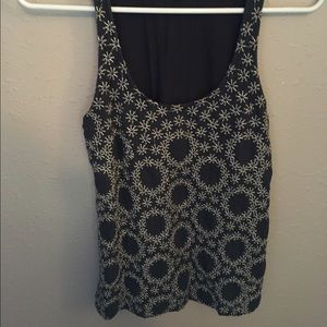Anthropologie gray embroidered tank