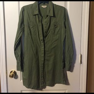 At Last Tops - Army green button up tunic