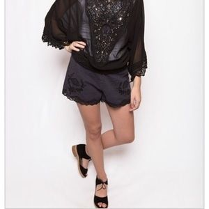 Free People Pants - FREE PEOPLE NWT! Washed Out Blk Lacey Linen Shorts