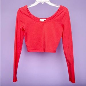 Forever 21 Coral Long Sleeved Crop Top