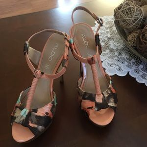 Aldo Shoes - Aldo Multi Color Satin and Leather Heeled Sandals