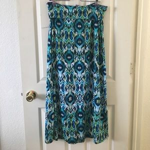 Maurices Dresses & Skirts - Printed Green and Blue Maxi Skirt