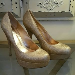 Wild Pair Shoes - Wild Pair Sparkly Gold Pumps
