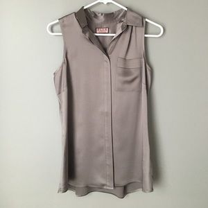 Thomas Pink Tops - Thomas Pink Taupe Silk Button Up Blouse