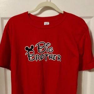 Bright Red Mouse-Ears Big Brother Tee