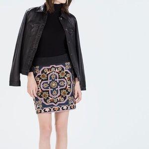 Zara Dresses & Skirts - Zara Embroidered Knit Mini Skirt