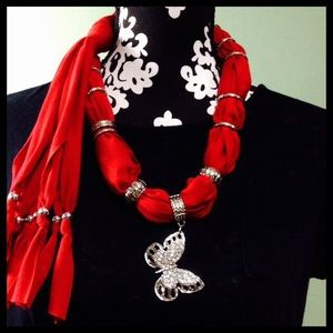 "Accessories - red butterfly jewelry scarf rayon knit 60"" long"