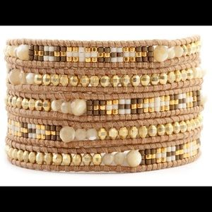 Chan Luu Jewelry - NATURAL MOTHER OF PEARL MIX WRAP BRACELET ON BEIGE