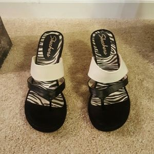 Skechers Shoes - Skechers black&white wedge sandals