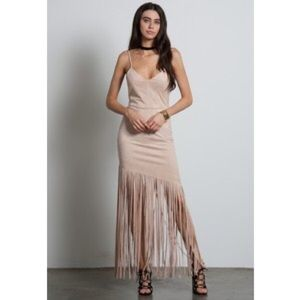 Blush Dresses & Skirts - Suede blush fringe dress