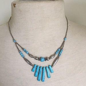 Vintage Jewelry - Turquoise boho necklace vintage