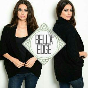 Bella Edge Sweaters - Black cozy dolman wrap shrug poncho sweater