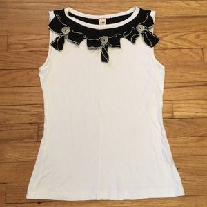Anthropologie Little Yellow Button white top - XS