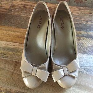 Me Too Tan Wedge Heels - 7.5 - Bow Detail