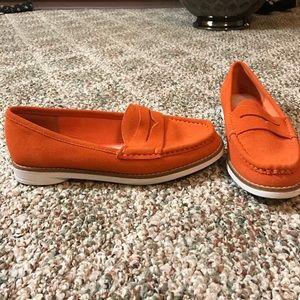 Gap orange suede loafers