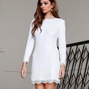 Dress the Population Dresses & Skirts - Shimmer Matte Sequin & Lace Long Sleeve Dress