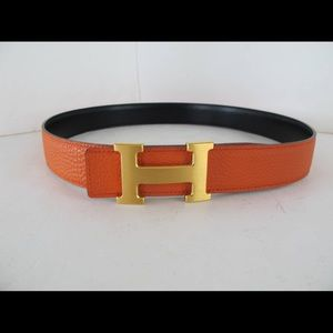 Hermes Accessories - Hermes- Orange belt with gold buckle.
